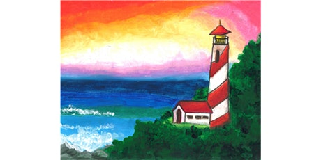 60min Paint A Lighthouse on the beach Landscape Scenery @1PM  (Ages 6+) tickets