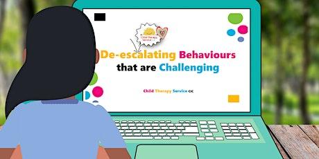 De-escalating Behaviours that are Challenging - Recorded Webinar tickets