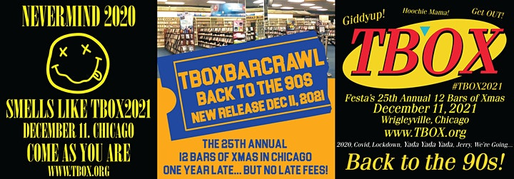 TBOX 2021 - BACK TO THE 90s - Festa's 25th Annual 12 Bars of Xmas Bar Crawl image