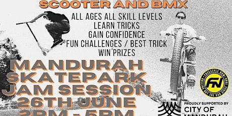 Mandurah skatepark scooter and BMX coaching jam session tickets
