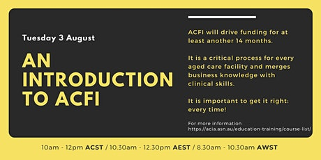 An Introduction to ACFI - ONLINE tickets