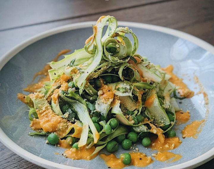 Platewell Vegan Cooking Class l Asparagus Ribbon, Peas & Tomato Vinaigrette image