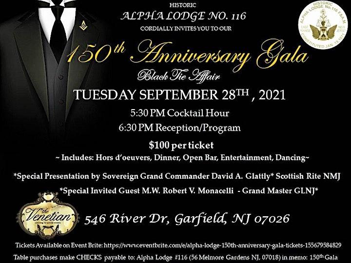 Alpha Lodge  150th Anniversary Gala image