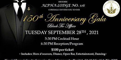 Alpha Lodge  150th Anniversary Gala tickets