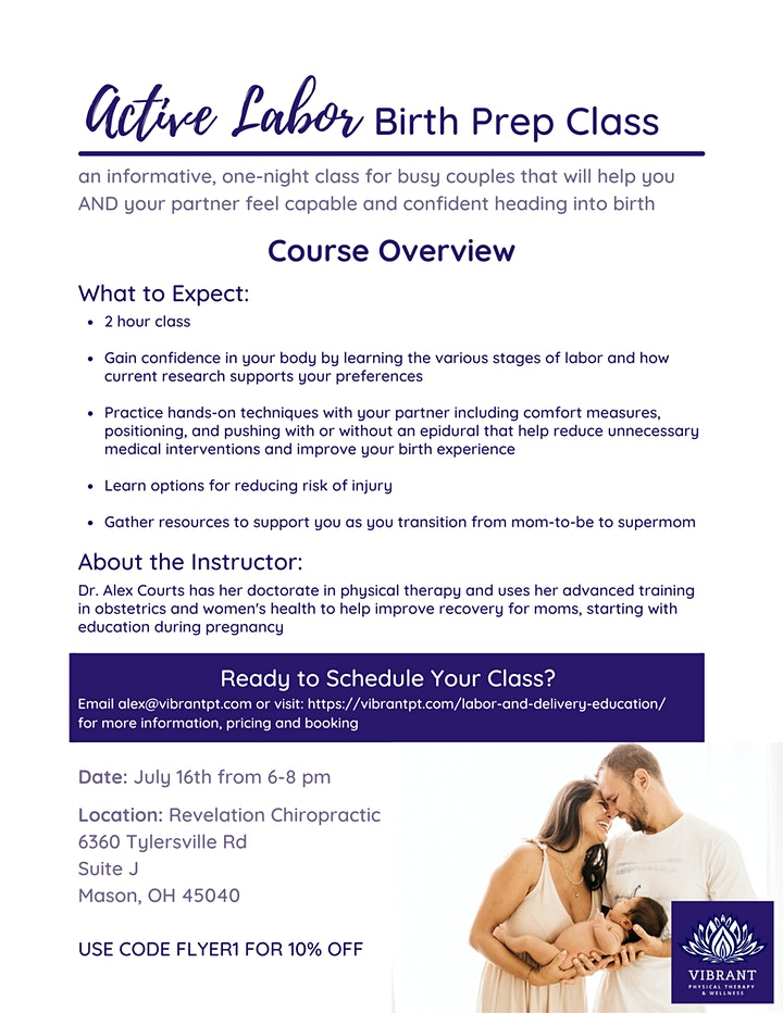 Active Labor Birth Prep Class: Group Format July 16th in Mason, OH image
