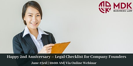 Happy 2nd Anniversary - Legal Checklist for Company Founders tickets