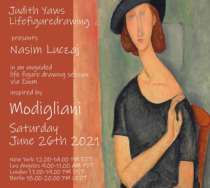 Life Figure Drawing via Zoom - with Nasim inspired by Modigliani image