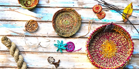 Stitch and coil basketry with natural fibres with Cindy Wood tickets