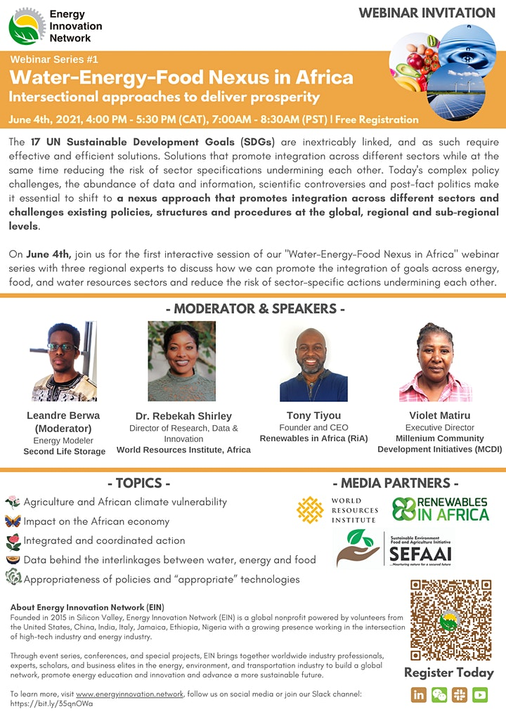 Panel Discussion | Water-Energy-Food Nexus in Africa  Series #1 image