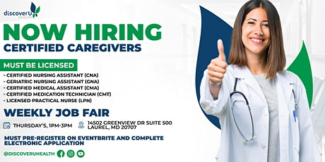 Now Hiring- Certified Caregivers tickets
