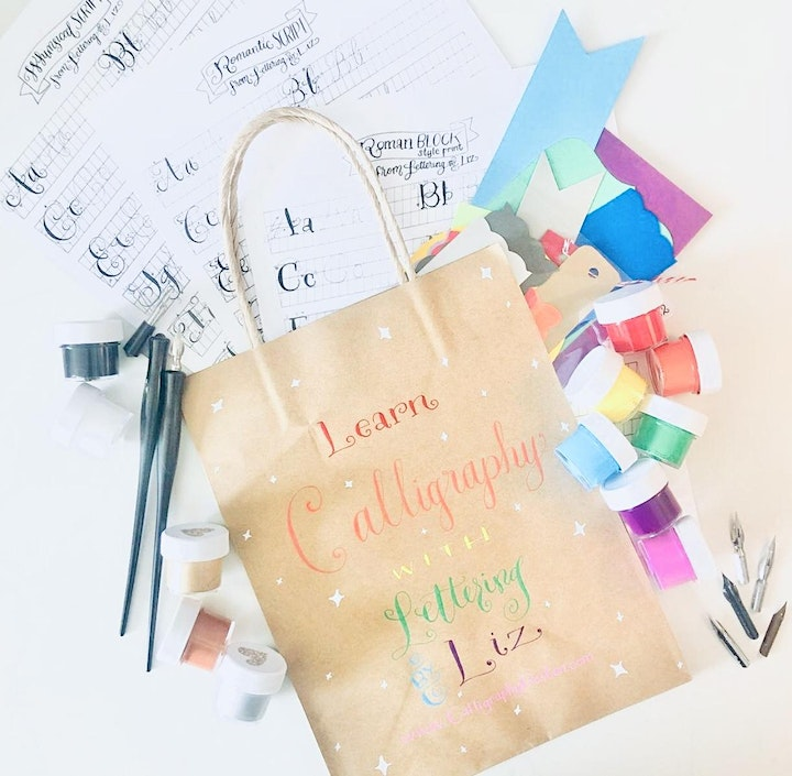 NEW Virtual Modern Calligraphy Class for Beginners including at-home kit image