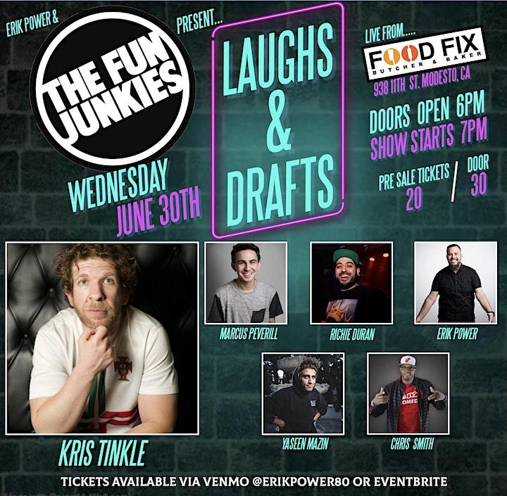 Erik Power & The Fun Junkies present Laughs & Draf image