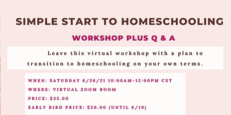 Simple Start To Homeschooling tickets