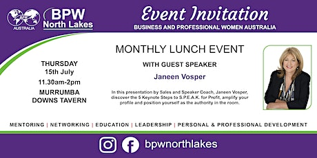 BPW North Lakes July Lunch with Janeen Vosper tickets