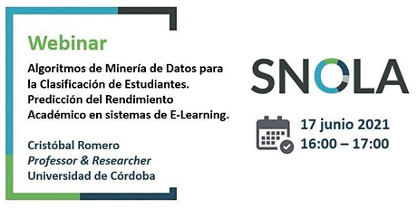 Webinar SNOLA: Minería de Datos para la Clasificación de Estudiantes. boletos