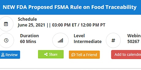 NEW FDA Proposed FSMA Rule on Food Traceability tickets