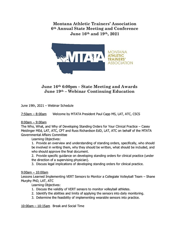 Montana Athletic Trainers' Association's 6th Annual State  Conference image