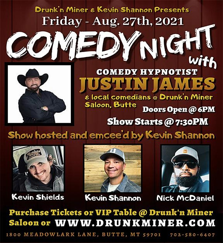 Comedy Show - Comedy Hypnotist Justin James - Friday, Aug. 27th, 2021 image