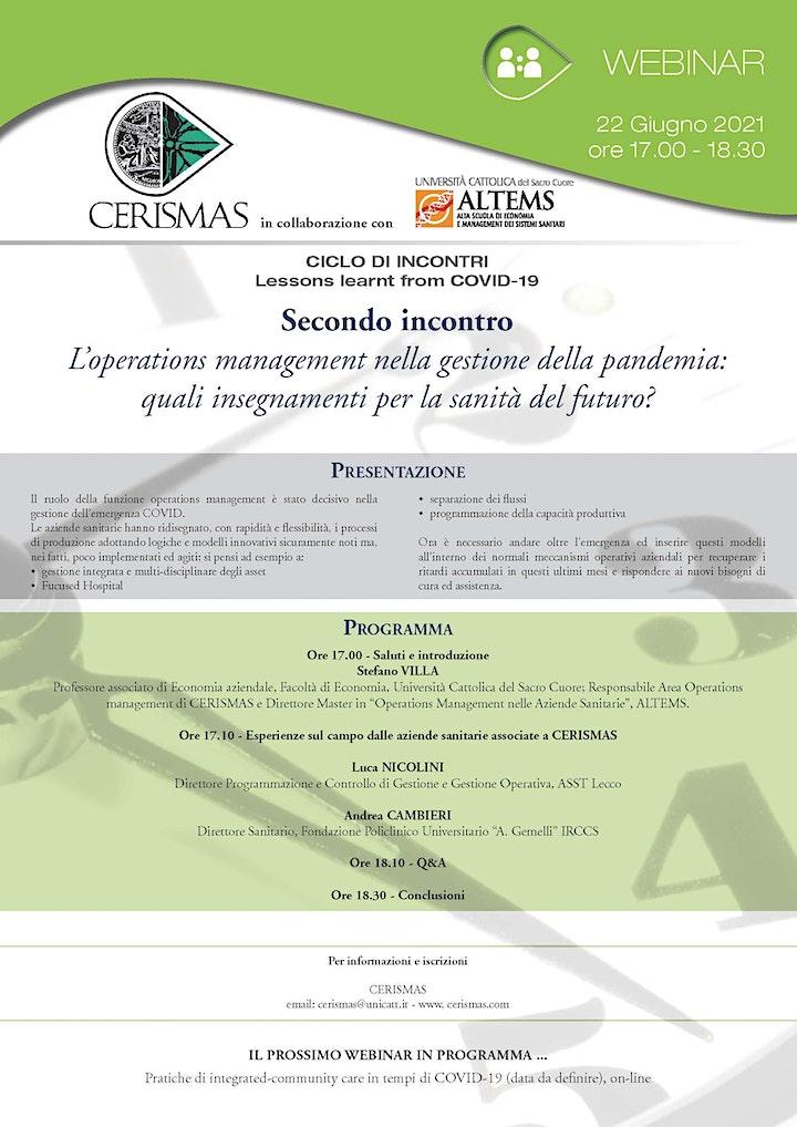 Immagine CERISMAS - L'operations management nella gestione della pandemia