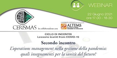 CERISMAS - L'operations management nella gestione della pandemia biglietti