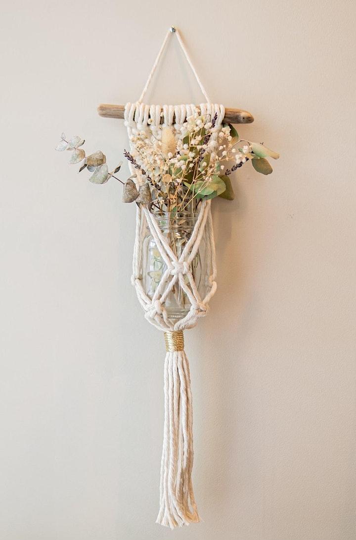 Macramé Wall Art  & Floral Arrangement- Duo class!!! image