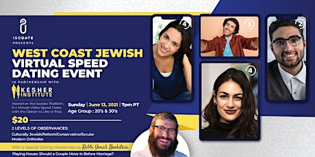 Isodate and The Kesher Institute's West Coast Jewish Virtual Speed Dating tickets
