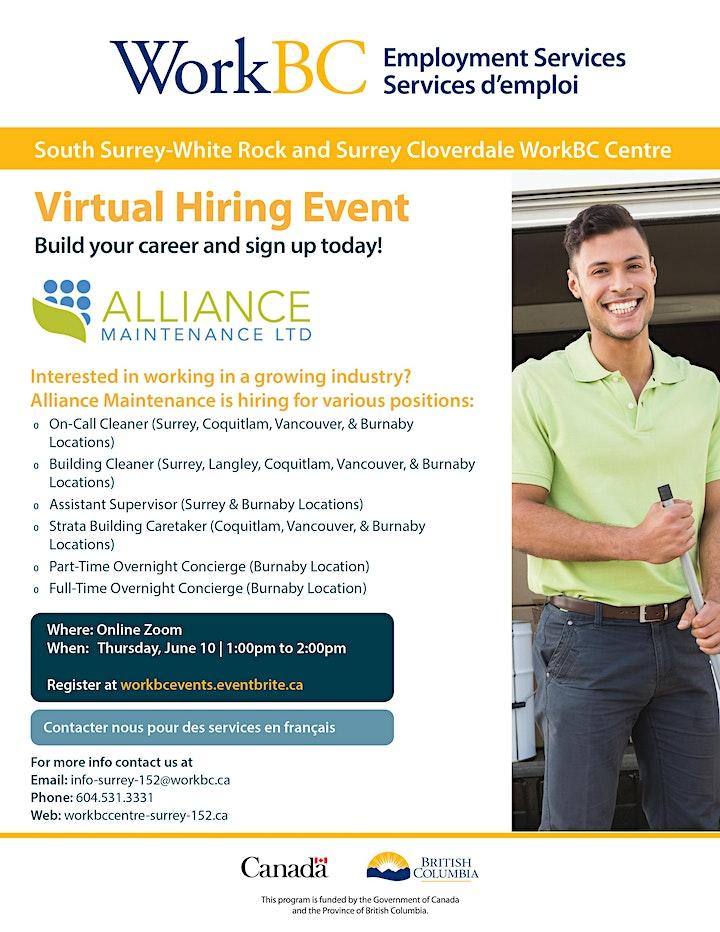 WorkBC SSWR/Cloverdale virtual hiring event with Alliance Maintenance image