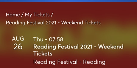 Reading weekend ticket tickets