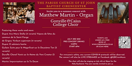 Gonville & Caius College Choir  Concert at St John Baptist Cirencester tickets