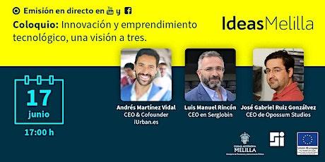 Coloquio: Innovación y Emprendimiento Tecnológico, una visión a tres. entradas