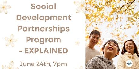 Social Development Partnerships Program tickets
