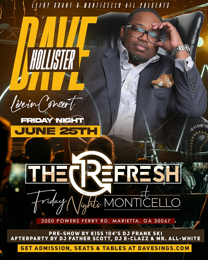 """An Intimate Night w/ """"Dave Hollister"""" in Concert at 10PM -GET TIX @ DOOR image"""
