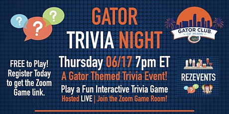 GATOR TRIVIA NIGHT - Virtual Trivia Game Night tickets