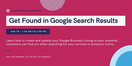 How to Get Found in Google Search Results tickets