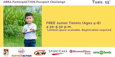 ABRA ParticipACTION Passport Challenge FREE Junior Tennis (Ages 4-6) tickets