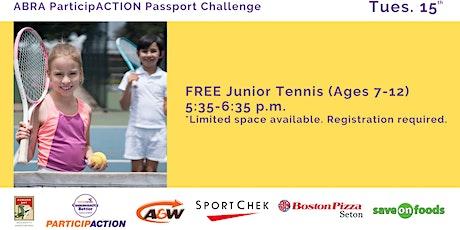 ABRA ParticipACTION Passport Challenge FREE Junior Tennis (Ages 7-12) tickets