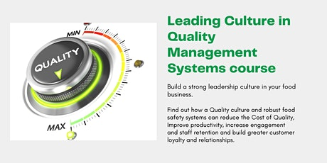 Food Safety Culture training for QA Managers - Leading Culture in QMS tickets