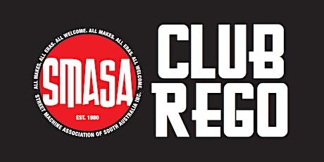 SMASA Club Rego Weekend, Saturday 26th June 2021, 9:00am to 9:30am tickets