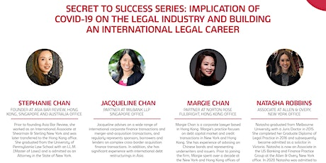 Legal Career Success Series: Implication of covid-19 on the legal industry tickets