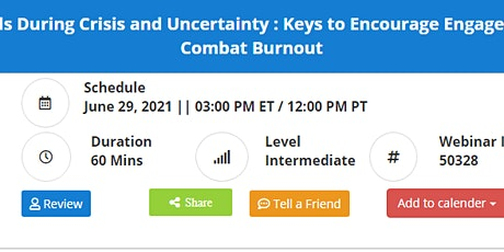 10 Essential Team Needs During Crisis and Uncertainty : Keys to Encourage E tickets