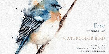 Watercolor birds tickets