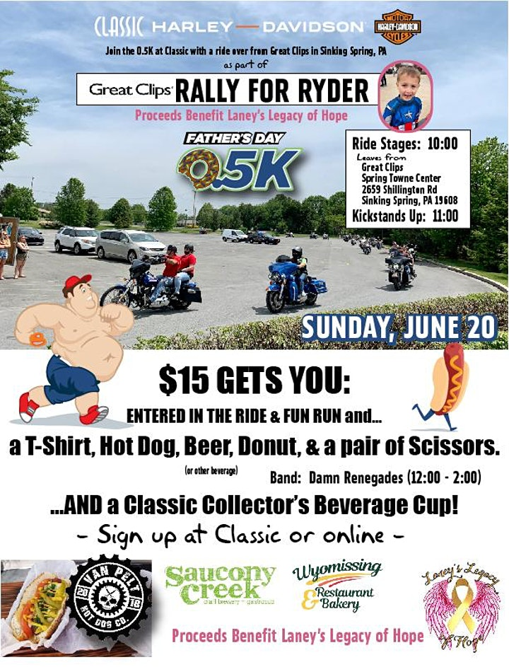 Classic Harley's Rally for Ryder...RIDE TO THE Father's Day 0.5K image