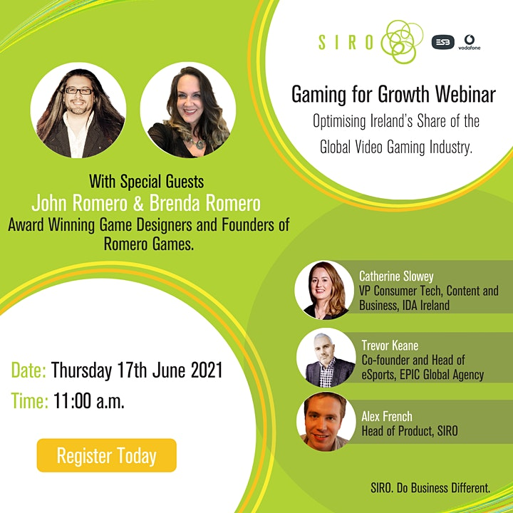 Gaming for Growth: SIRO Ireland Webinar Event June 17th 11:00 a.m. image