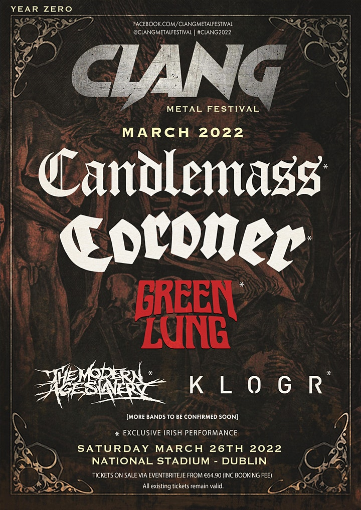 Clang Irish Metal Festival --Featuring Candlemass & Coroner! image