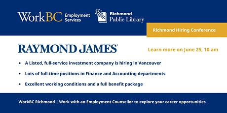 Raymond James is hiring for Finance and Accounting positions in Greater Van billets