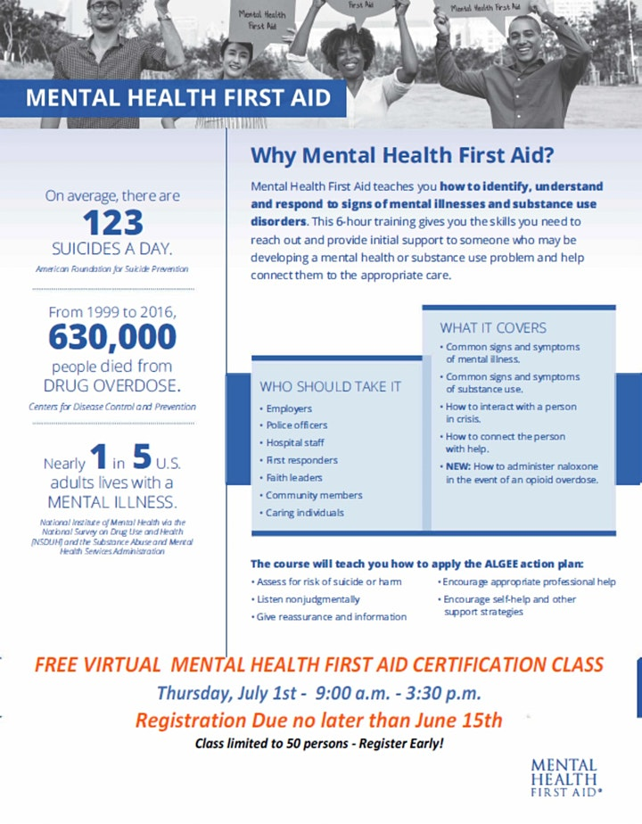 VIRTUAL MENTAL HEALTH FIRST AID CERTIFICATION CLASS image