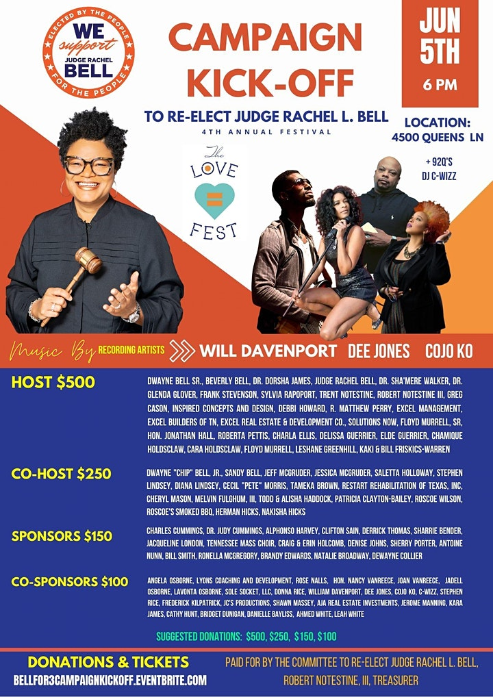 June 5 @ 6p Judge Rachel Bell's Campaign Kickoff Presented by The LOVEFEST image