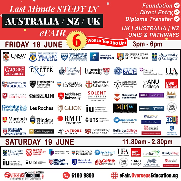 Last Minute Study in Australia / NZ / UK Unis E-Fair image