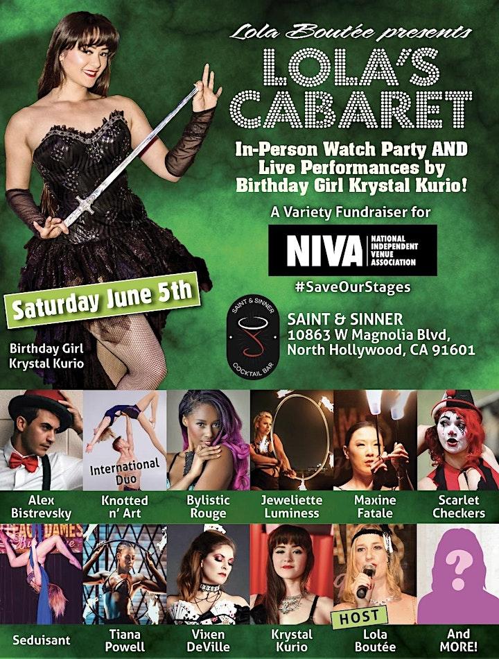 Lola Boutée's Cabaret In Person NIVA Fundraiser + Live Performances image