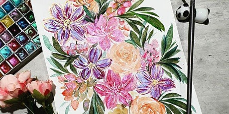 Watercolor Florals and Brush Lettering Course starts July 10(8 Sessions) tickets
